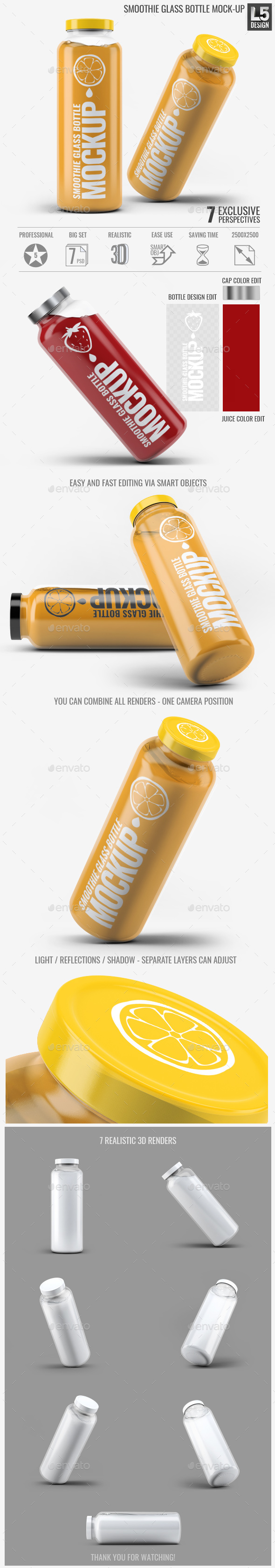 Smoothie Glass Bottle Mock-Up - Food and Drink Packaging