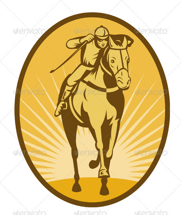 Jockey And Horse Racing Retro Style - Animals Characters