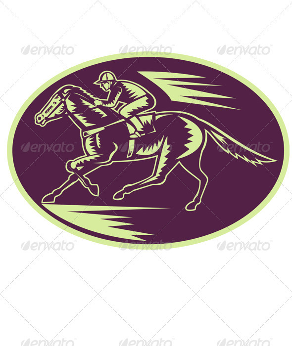 Jockey And Horse Racing Retro Style - Sports/Activity Conceptual