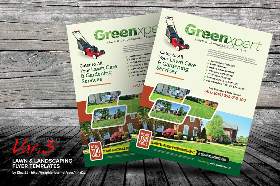Lawn landscaping flyer templates by kinzi21 graphicriver for Landscaping flyers templates