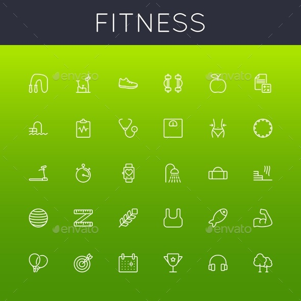 Vector Fitness Line Icons - Miscellaneous Icons
