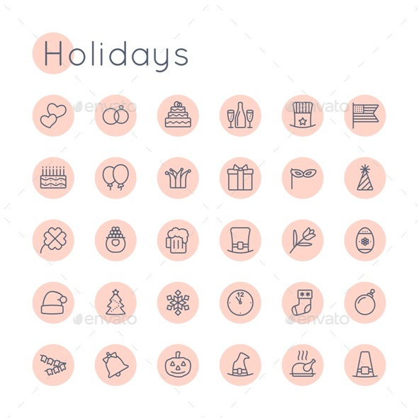 Vector Round Holidays Icons - Seasonal Icons