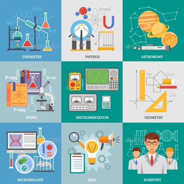 Science Research 9 Flat Icons Square - Conceptual Vectors