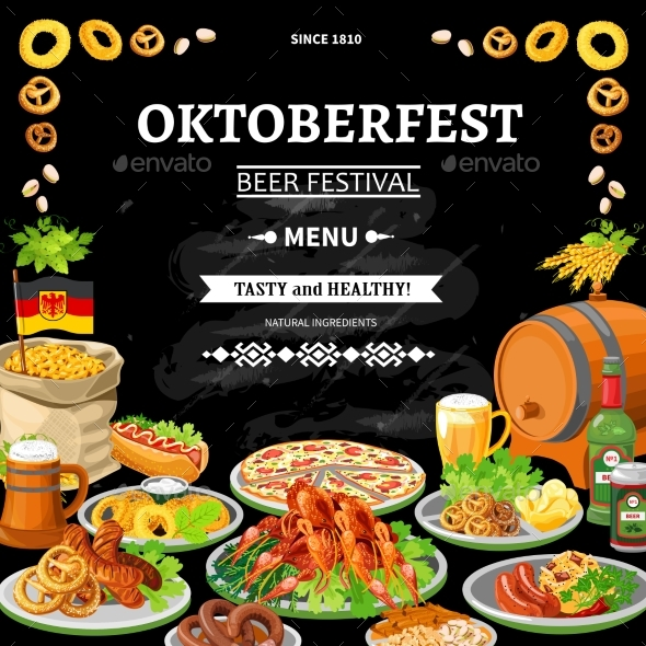 German Oktoberfest Chalkboard Menu Flat Poster  - Food Objects
