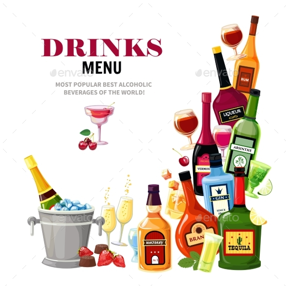 Alcoholic Beverages Drinks Menu Flat Poster - Backgrounds Decorative