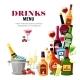 Alcoholic Beverages Drinks Menu Flat Poster