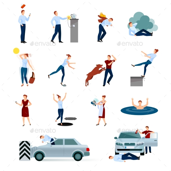 Accidents Injuries Dangers Decorative Icons Set - Health/Medicine Conceptual