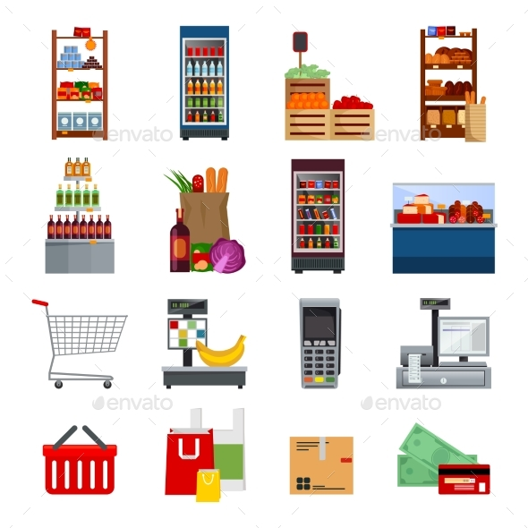 Supermarket Decorative Flat Icons Set - Retail Commercial / Shopping