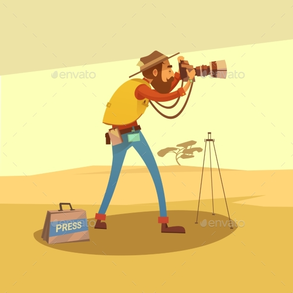 Journalist Cartoon Illustration  - People Characters