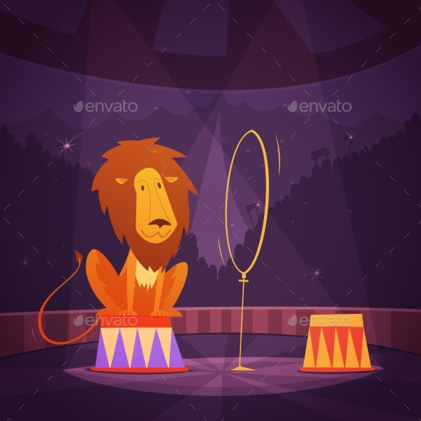 Circus Lion Illustration  - Animals Characters