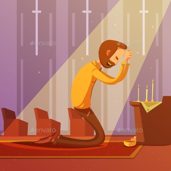 Praying Man Illustration  - Religion Conceptual