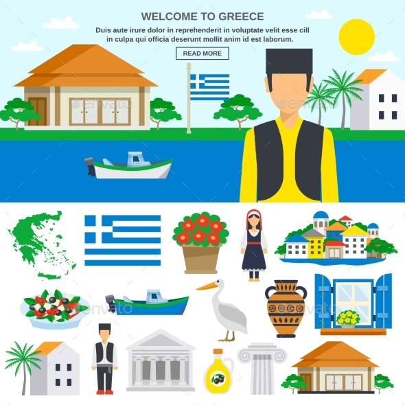 Flat Icons Set Of Greece - Travel Conceptual
