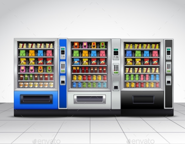 Realistic Vending Machines Front View - Technology Conceptual
