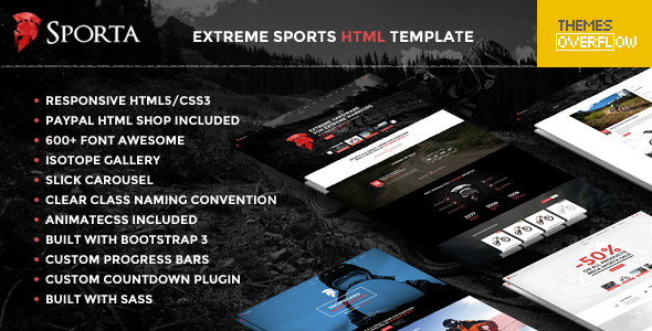 Sporta - Extreme Sports, Manufacture HTML Template - Shopping Retail