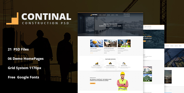 CONTINAL - Construction Business PSD Template - Business Corporate