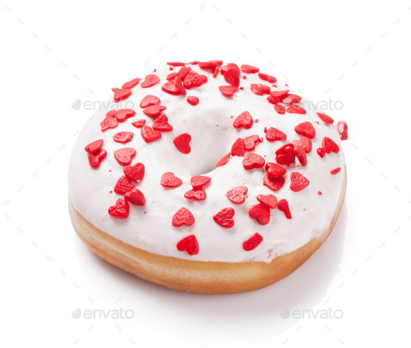 Donut with heart shaped decor - Stock Photo - Images