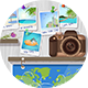 Travel Objects on Wooden Wall - GraphicRiver Item for Sale