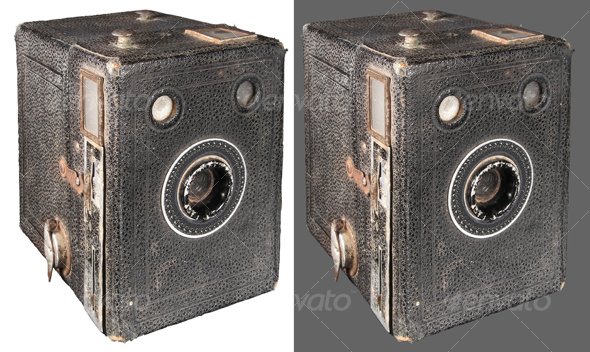 Antique box camera - Technology Isolated Objects