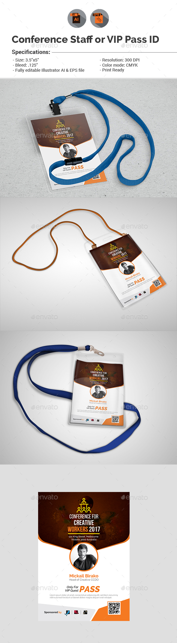Conference Id Graphics Designs Templates From GraphicRiver - Conference badge template