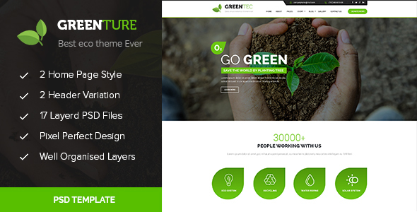 Greenture - Environment / Non-Profit PSD Template - Environmental Nonprofit