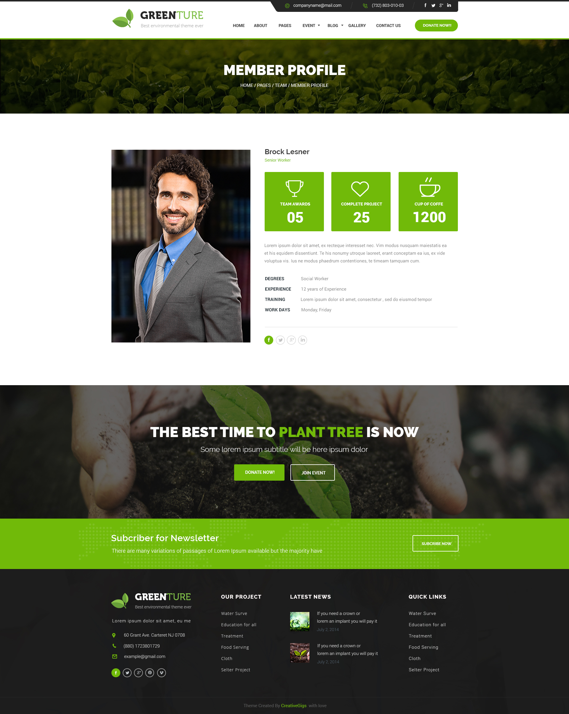 greenture environment non profit psd template by creativegigs. Black Bedroom Furniture Sets. Home Design Ideas