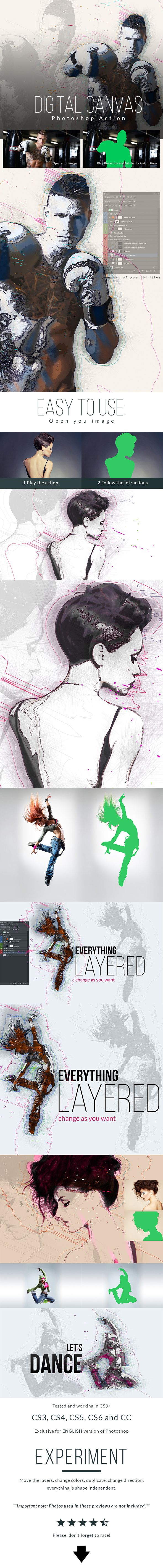 Digital Canvas Photoshop Action - Actions Photoshop