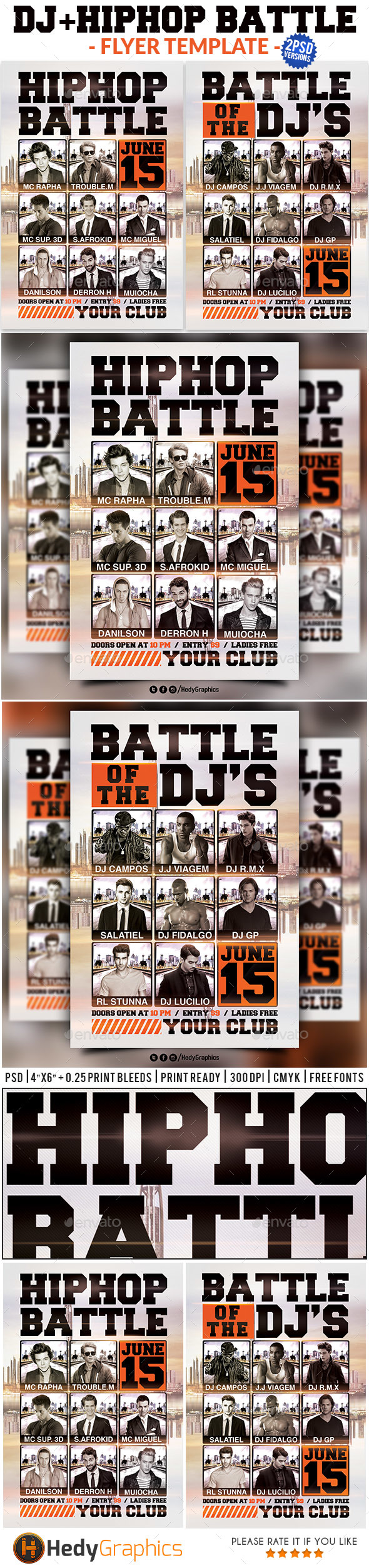 Dj & HipHop Battle - Flyer Template - Events Flyers