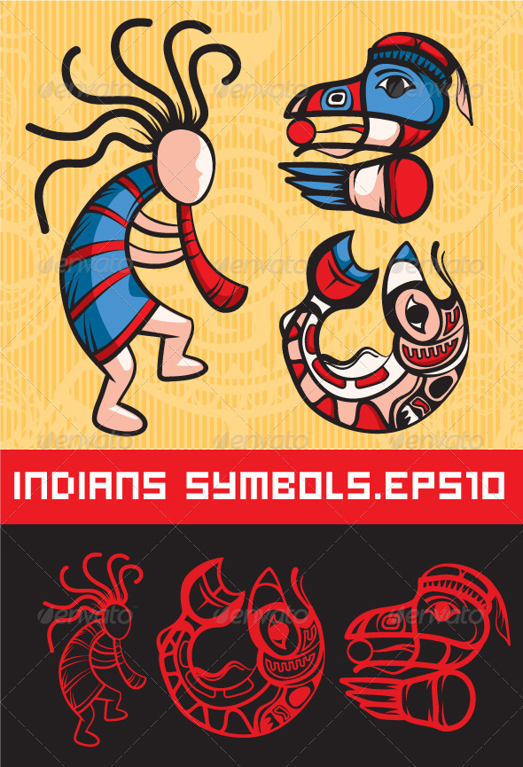 Slylish American Indian Symbols - Characters Vectors