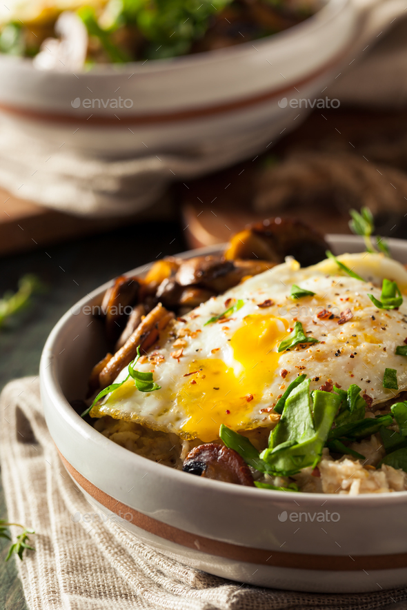 Healthy Homemade Savory Oatmeal - Stock Photo - Images