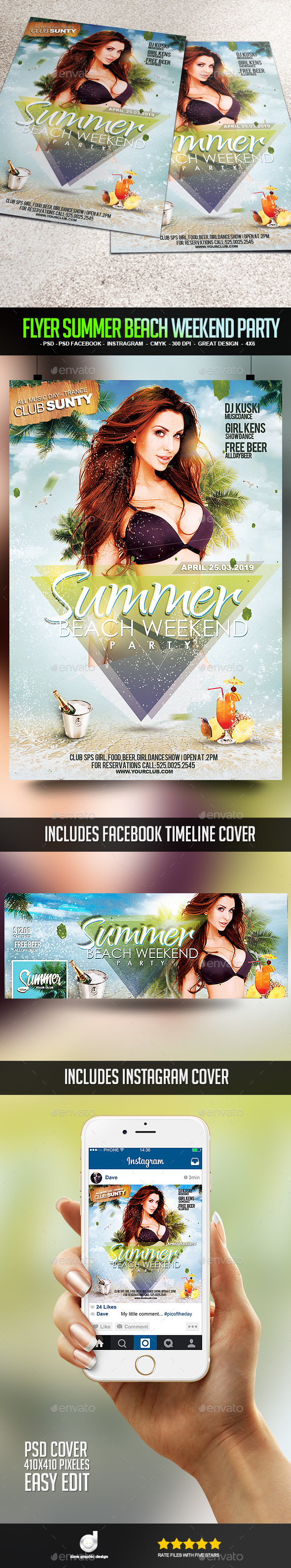 Flyer Summer Beach Weekend Party - Clubs & Parties Events