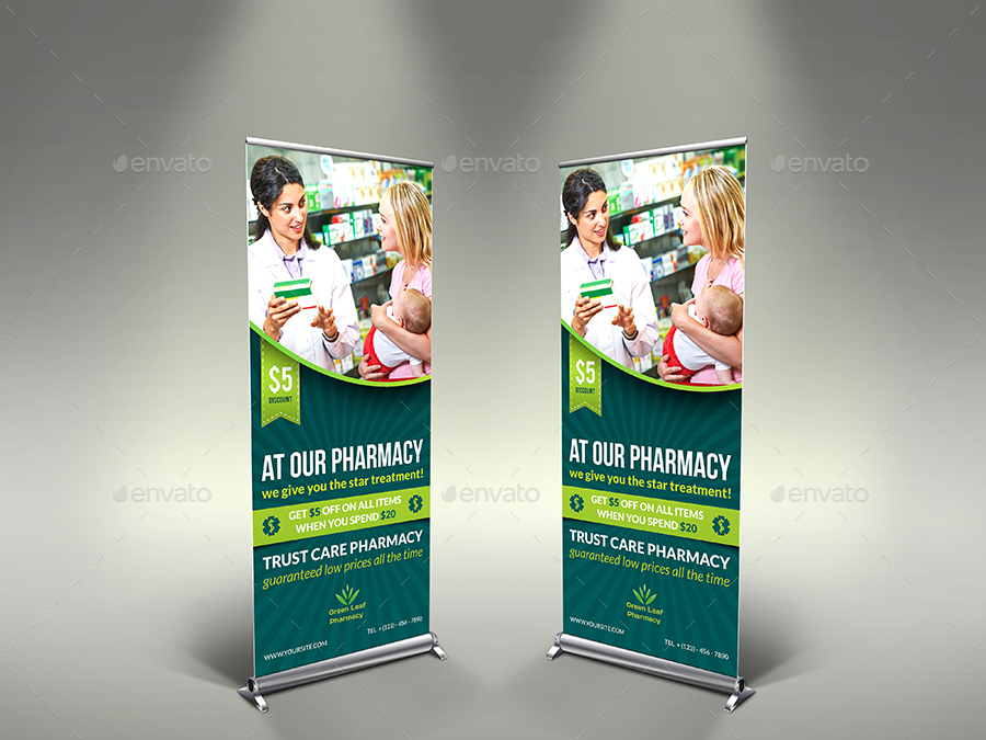 Pharmacy Signage Roll Up Banner Template