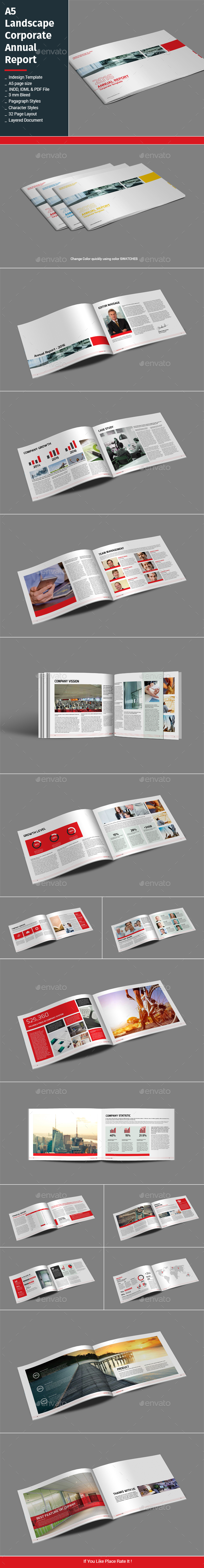 A5 Landscape Corporate Annual Report - Informational Brochures