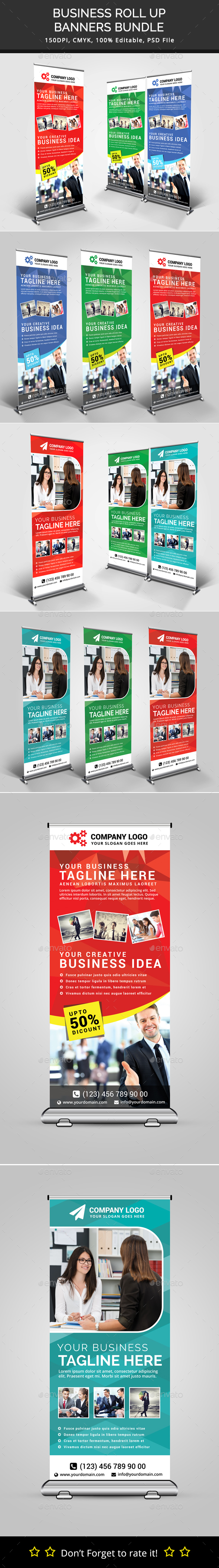 Bundle of 2 Multi Business Rollup Banners - Signage Print Templates