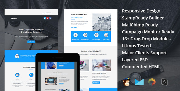 DAMAL - Multipurpose Responsive Email Template + Stampready Builder - Email Templates Marketing