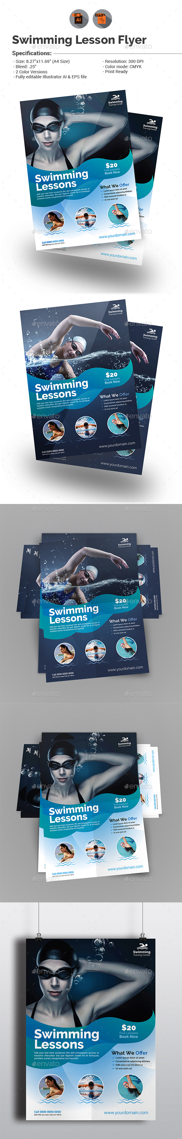 Swimming Lessons Flyer Template - Sports Events