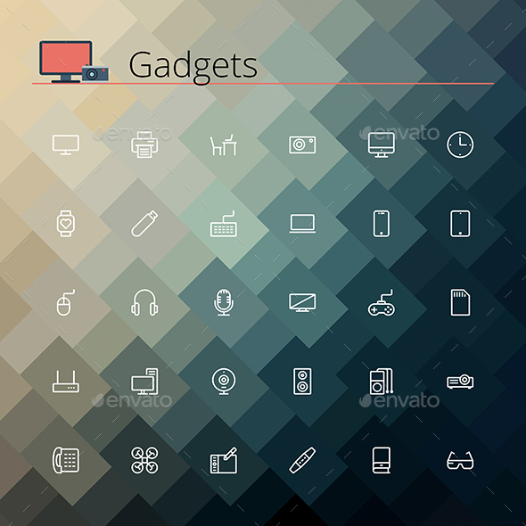 Gadgets Line Icons - Technology Icons