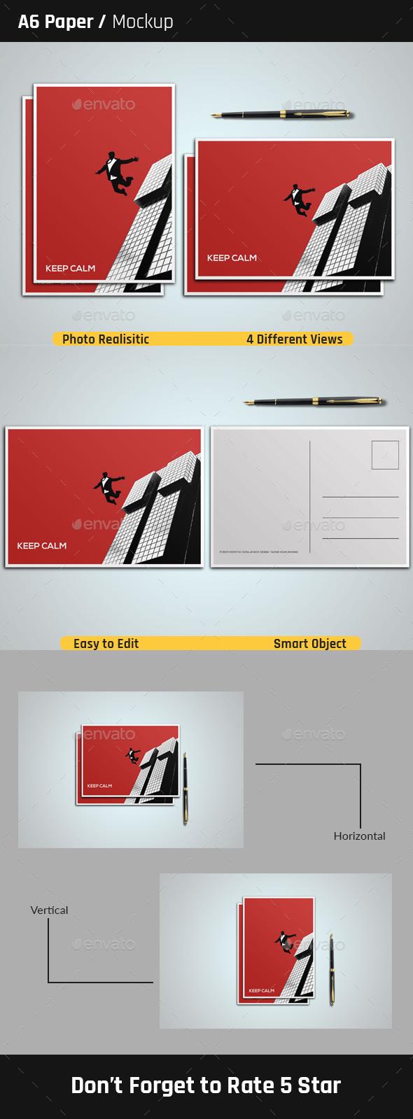 A6 Paper Mock-Up - Print Product Mock-Ups