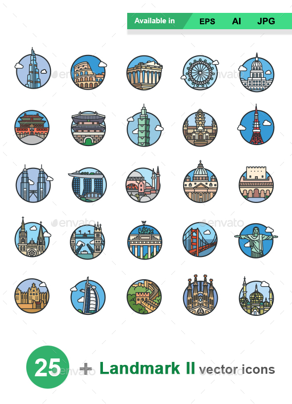 Landmarks II color vector icons - Buildings Objects