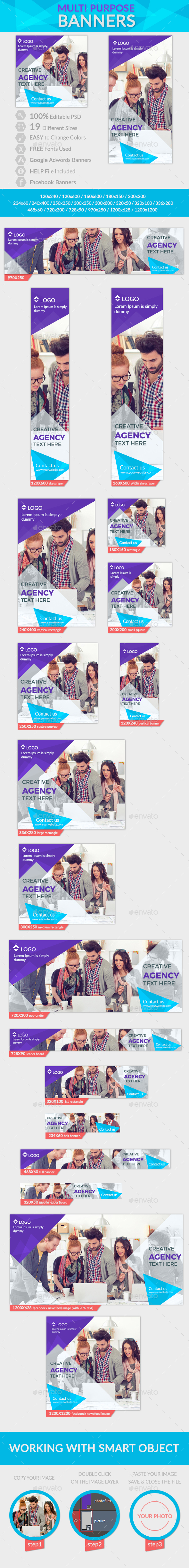 Multi Purpose Banners + 2 Facebook Banners - Banners & Ads Web Elements