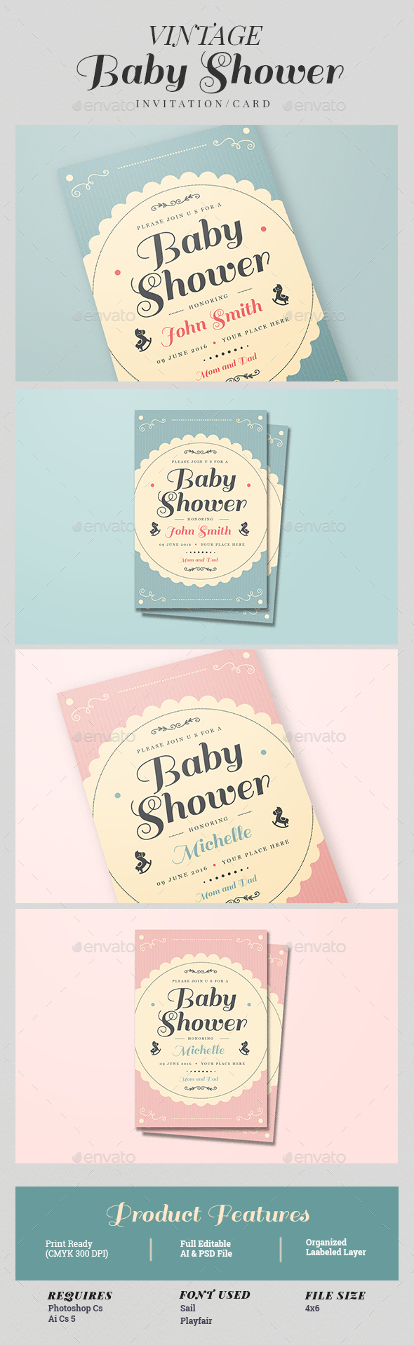 Vintage Baby Shower Invitation/Card by Guuver | GraphicRiver