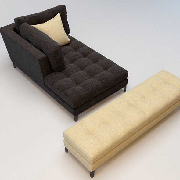 Lounge and ottoman bench models - 3DOcean Item for Sale