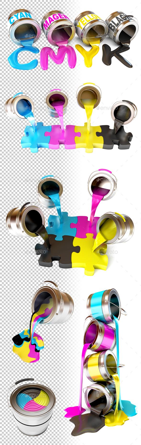 Bottles of ink in cmyk colors. 3d render. - Miscellaneous 3D Renders