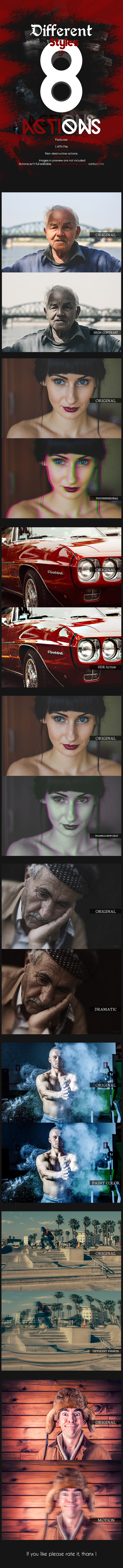 8 Different Styles Actions - Photo Effects Actions
