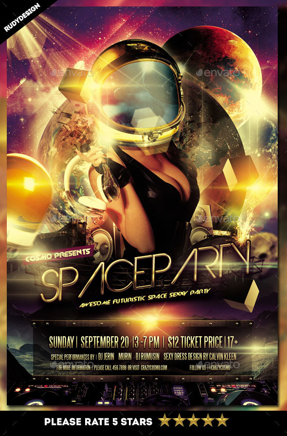 Space Party Flyer By Rudydesign  Graphicriver
