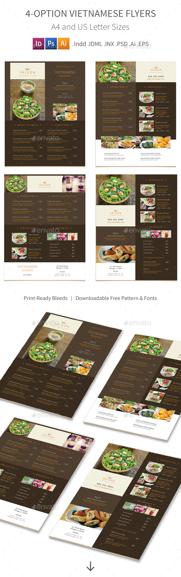 Vietnamese Restaurant Menu Flyers 2 – 4 Options - Food Menus Print Templates