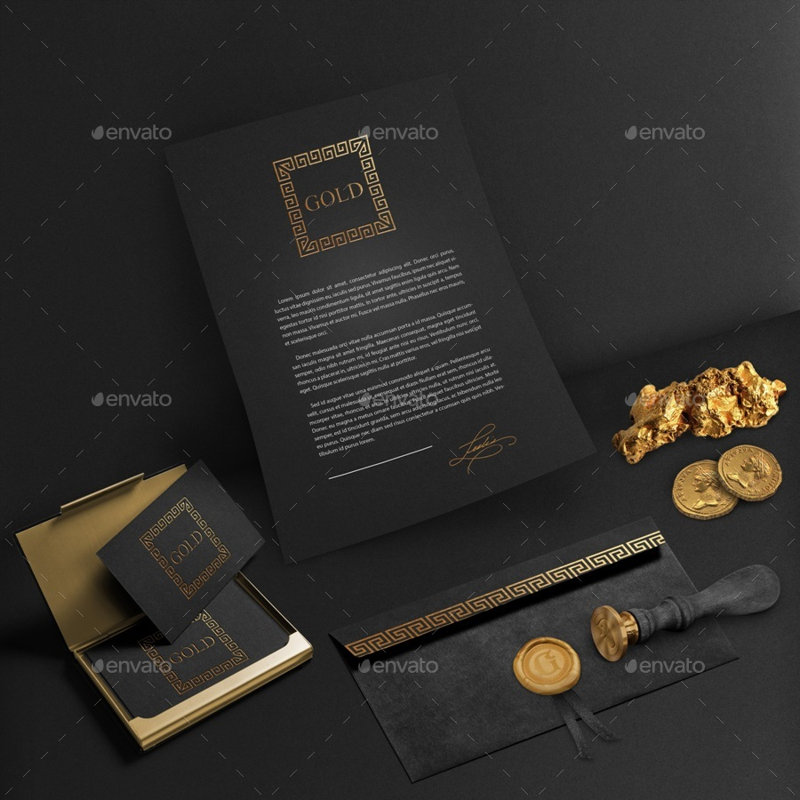 Gold and Black Stationary / Branding Mock-Up