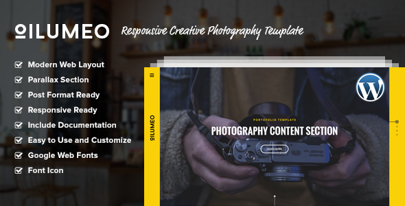 Oilumeo – Responsive Creative Photography WordPress Theme