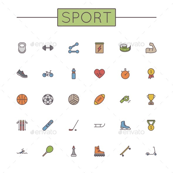 Vector Colored Sport Line Icons - Miscellaneous Icons