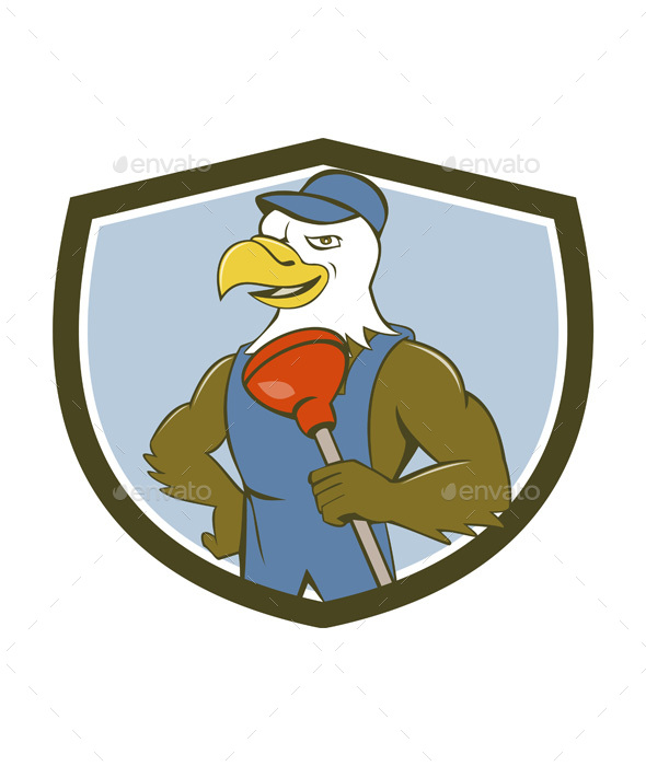 Bald Eagle Plumber Plunger Crest Cartoon - Animals Characters