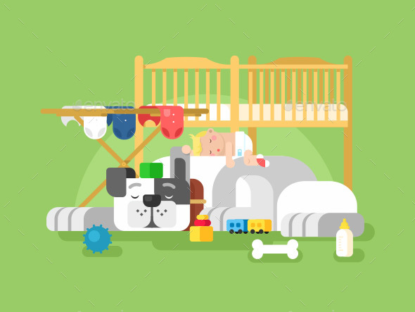 Dog and Baby Sleeping - Miscellaneous Characters